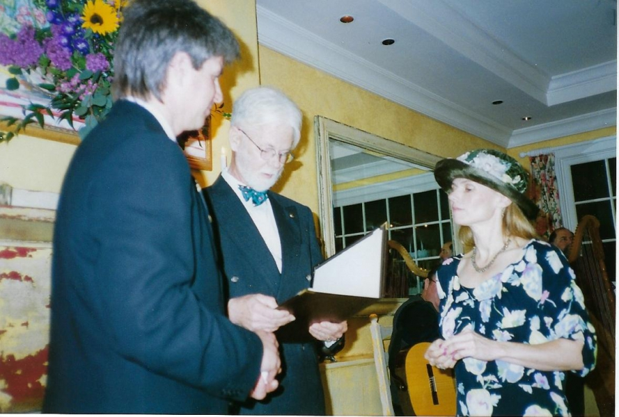Geoffrey Officiating Mike and Laura Mullins' wedding 5-2-98